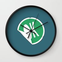 sticker Wall Clocks featuring OK Sticker by Chad De Gris
