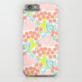 Folk Art Floral in Nile Pastel iPhone Case