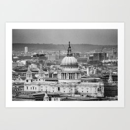 Aerial View of St Paul's Cathedral in Black & White Art Print