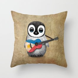 Baby Penguin Playing Filipino Flag Acoustic Guitar Throw Pillow