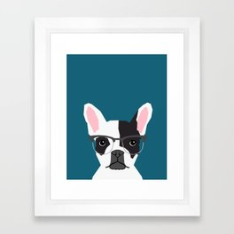 Hadley  - French Bulldog wearing hipster glasses perfect for dog lovers and owners, dog people Framed Art Print