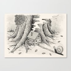 'A Visitor' (Grey) Canvas Print