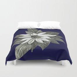 Florida Flower Navy Blue Background Duvet Cover
