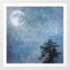 Moon lit flight Art Print
