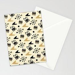 Mid Century Modern Atomic Boomerang Pattern Gold 102 Stationery Cards