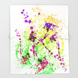 Lime Time - Abstract Splatter Style Throw Blanket