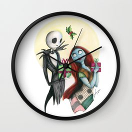 Jack and Sally Merry Christmas Wall Clock