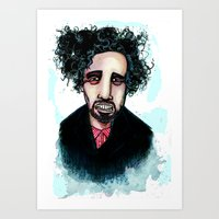 tim burton Art Prints featuring Tim Burton by Grant Hunter