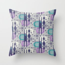 Retro Atomic Mid Century Pattern Grey Teal Blue and Lavender Throw Pillow
