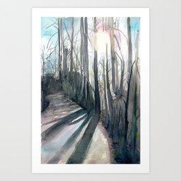 Winter Tree Path Art Print