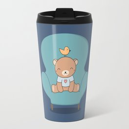 Kawaii Cute Teddy Brown Bear On A Sofa Travel Mug