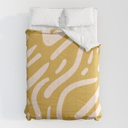 Earthy Mustard Yellow and Light Peach tribal inspired modern pattern Comforters