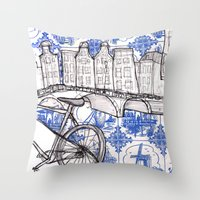 amsterdam Throw Pillows featuring Amsterdam by crocomila