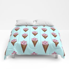 Cute Watercolor Piggy Ice Cream Pink Teal Pattern Comforters