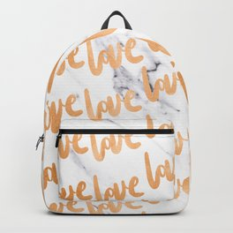 Love Copper Gold Marble Backpack