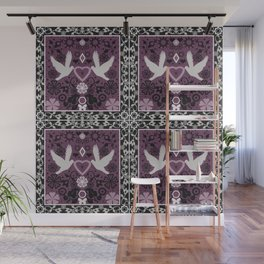 Lace Valentines day print with birds and heart Wall Mural