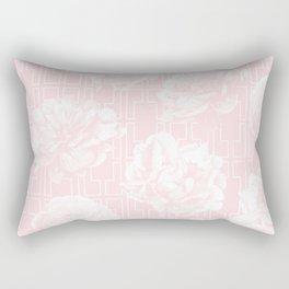 Rose Garden Pink Flamingo on White Mid-Century Lattice Rectangular Pillow