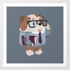 Smart Bulldog Character Art Print