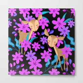 Cute little baby deer fawns lost in the forest of delicate pink flowers illustration. Animals. Metal Print