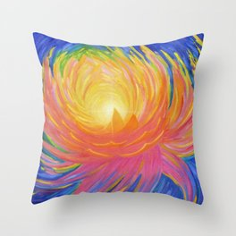 "Lotus Abstract Painting, ""Unfoldment"" Throw Pillow"
