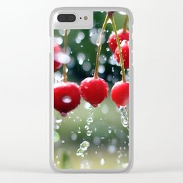 Cherries in the summer rain Clear iPhone Case