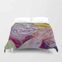 lama Duvet Covers featuring Dalai Lama by Robert E. Richards