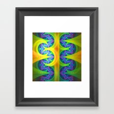 Bright abstract patterns in blue, green, yellow, purple and pink. Framed Art Print