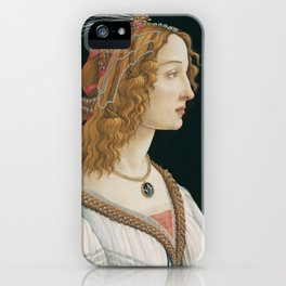 "Sandro Botticelli ""Idealized Portrait of a Lady (Portrait of Simonetta Vespucci as Nymph)"" iPhone Case"