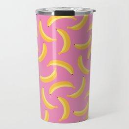 Bananas & Solid Pink Travel Mug