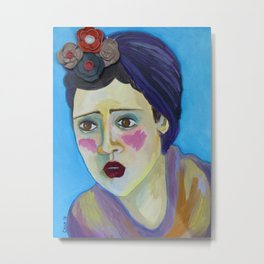 Woman with blue background Metal Print
