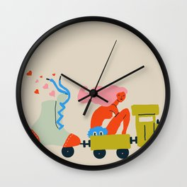 Roller train Wall Clock