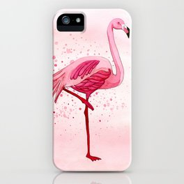 Pink Watercolor Flamingo iPhone Case