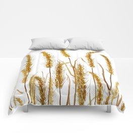 golden wheat field watercolor Comforters