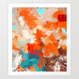 Pleasure, Abstract Brush Strokes Summer Painting, Pop of Color Bright Art Print