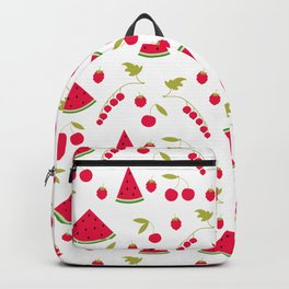 Seamless pattern watermelon cherry raspberry currant background Backpack