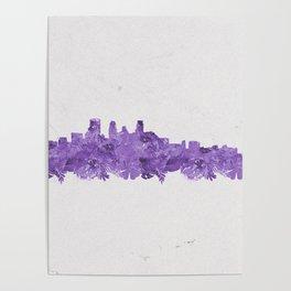 Minnepolis Minnesota Skyline Florals Purple Poster