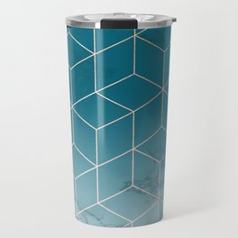 Gold Geometric Cubes Teal Marble Deco Design Travel Mug