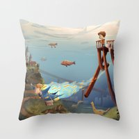 sandman Throw Pillows featuring Sandman by Maxime Lebrun