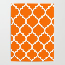 MOROCCAN ORANGE AND WHITE PATTERN Poster