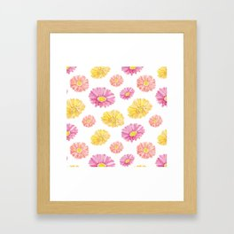 Blush pink yellow watercolor hand painted daisies floral Framed Art Print