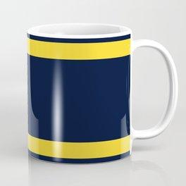 Navy and Yellow Sport Stripes Coffee Mug