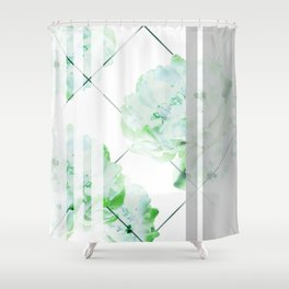 Abstract Geometric Lines Green Peonies Flowers Design Shower Curtain