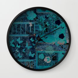 butterflies_I turquoise Wall Clock