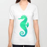 seahorse V-neck T-shirts featuring Seahorse by Sara Eshak