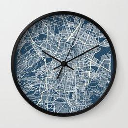 Mexico City Blueprint Street Map, Mexico City Colour Map Prints Wall Clock