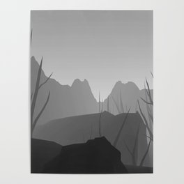 wall art black and white forest Poster