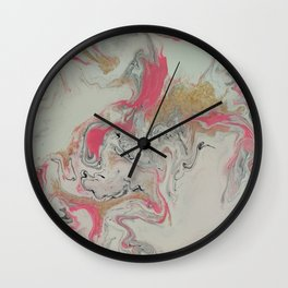 Pink and Gold Marble Print Wall Clock