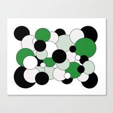 Bubbles - green, black, gray and white Canvas Print