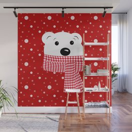 Muzzle of a polar bear on a red background. Wall Mural
