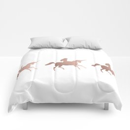 Rose gold unicorn Comforters